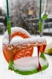 Schommeling in de winter Royalty-vrije Stock Foto