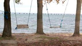 Schommeling in een recreatiepark en een mening van de kust aan een laag-waterbrug van de Sedanka-post aan het schiereilandthrou v