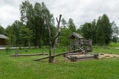 Schommeling in het hout Stock Foto