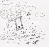 Schommeling op boom in een ingebeeld park Stock Afbeelding