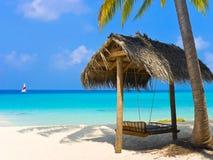Schommeling op een tropisch strand Royalty-vrije Stock Foto's