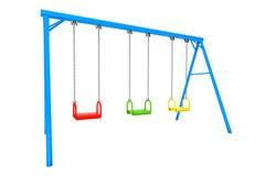 Schommeling van de kinderen de kleurrijke speelplaats Stock Afbeeldingen