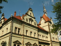 Schonborn宫殿后院在Chynadiyovo,喀尔巴汗乌克兰 库存照片