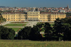 Schonbrunn. The view of Schonbrunn park dominated by  the imperial Schonbrunn palace, Vienna, Austria Royalty Free Stock Images