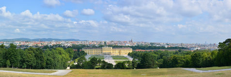 Schonbrunn castle and Vienna panaroma Royalty Free Stock Images