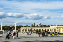 Schonbrunn garden, Vienna. Arch, decorated with plants in Schonbrunn garden, Vienna Royalty Free Stock Photos