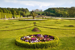 Schonbrunn gardens and Gloriette pavilion in Vienna Stock Images