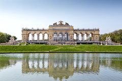 Schonbrunn gardens and Gloriette pavilion in Vienna Royalty Free Stock Image
