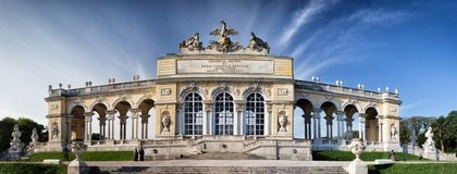 Schonbrunn gardens and Gloriette pavilion in Vienna Royalty Free Stock Photography