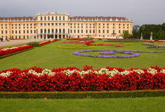 Schonbrunn Palace. And gardens during a rainy day Stock Image