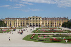 Schonbrunn Palace. VIENNA, AUSTRIA - AUGUST 7: Tourist visiting the Schonbrunn Palace on August 7, 2011 in Vienna, Austria. The Palace, built in the year 1642 Royalty Free Stock Image