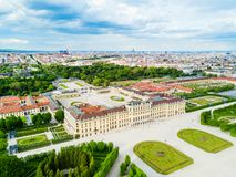 Schonbrunn Palace aerial, Vienna. Schonbrunn Palace aerial panoramic view. Schloss Schoenbrunn is an imperial summer residence in Vienna, Austria. Schonbrunn Royalty Free Stock Photo