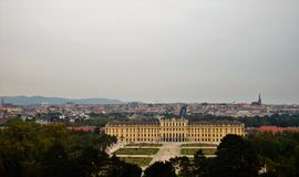 Schonbrunn Palace and the city of Vienna. View of Schonbrunn Palace and the city of Vienna from The Gloriette Stock Photo