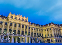 Schonbrunn Palace front view, at night. Schonbrunn Palace. Vienna, Austria at night Royalty Free Stock Photo