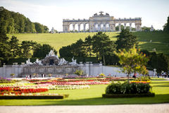 Schonbrunn Palace garden with Gloriette in Vienna, Austria Stock Photo