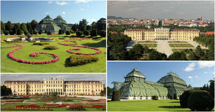 Schonbrunn Palace and Gardens - Wien. Collage of 4 photos representing Schonbrunn Palace and Gardens with the Palm House Stock Photography