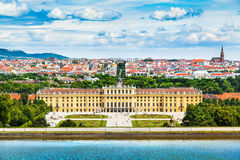 Schonbrunn Palace with Great Parterre garden in Vienna, Austria Stock Images