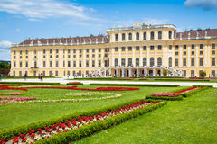 Schonbrunn Palace with Great Parterre garden in Vienna, Austria stock photo