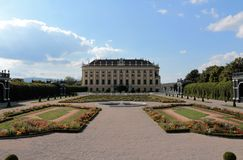 Schonbrunn Palace, Vienna, Austria. Schonbrunn Palace and garden park, Vienna, Austria. Backside of the palace Royalty Free Stock Photo