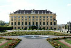 Schonbrunn Palace, Vienna, Austria. Schonbrunn Palace and garden park, Vienna, Austria. Backside of the palace Stock Images
