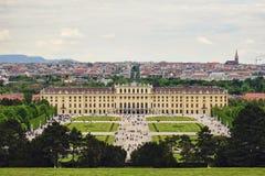 Schonbrunn Palace in Vienna, Austria. A high point shot of the Schonbrunn Palace in Vienna, Austria Stock Images