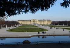 Schonbrunn Palace in Vienna, Austria. Schonbrunn Palace building is one of the most popular tourist attractions in Vienna. Royalty Free Stock Images