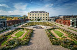 Schonbrunn Palace in Vienna, Austria. Sunny day Royalty Free Stock Photos