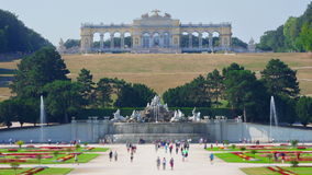 schonbrunn palace, vienna, austria, timelapse, zoom out, 4k stock video footage