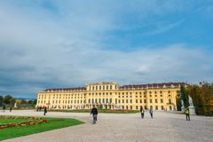 Schonbrunn Palace in Vienna. Baroque palace is former imperial summer residence located in Vien Stock Photos