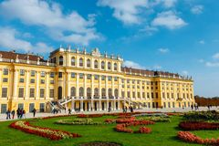 Schonbrunn Palace in Vienna. Baroque palace is former imperial summer residence located in Vien Stock Photography