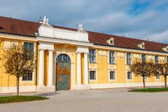 Schonbrunn Palace in Vienna. Baroque palace is former imperial summer residence located in Vien. Vienna, Austria, October 14, 2016: Schonbrunn Palace in Vienna Royalty Free Stock Images