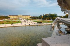 Schonbrunn Palace in Vienna. Baroque palace is former imperial summer residence located in Vien. Vienna, Austria, October 14, 2016: Schonbrunn Palace in Vienna Stock Image