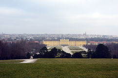 Schonbrunn palace in Vienna city in Austria in winter Royalty Free Stock Photo