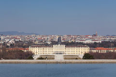 Schonbrunn Palace with Vienna cityscape Royalty Free Stock Photos