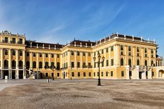 Schonbrunn palace in Vienna. The palace and gardens illustrate the tastes, interests, and aspirations of successive Habsburg monarchs Stock Photos