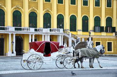 Schonbrunn palace Vienna. Horse carriage near Schonbrunn palace,Vienna Stock Photography