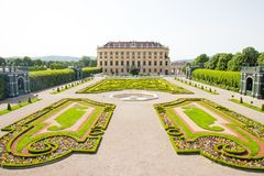 Schonbrunn Palace in Wien, Austria. Privy garden of Schonbrunn Palace in Wien, Austria Stock Photo