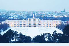 Schonbrunn Palace at winter evening in Vienna stock photography