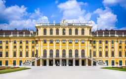 Schonbrunn, Vienna, Austria. Austria. Schonbrunn Palace in Vienna. It& x27;s a former imperial 1,441-room Rococo summer residence in modern Wien stock photography