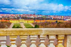 Schonbrunn and Vienna panorama, Austria. Schonbrunn view and Vienna panoramic skyline, Austria from terrace Royalty Free Stock Photos