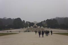 Schonbrunnpark in een mistige de winterdag Stock Fotografie