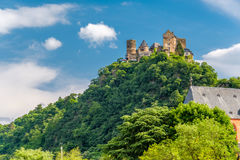 Schonburg Castle at Rhine Valley near Oberwesel, Germany. Schonburg Castle at Rhine Valley Rhine Gorge near Oberwesel, Germany. Built some time between 1100 and stock photos