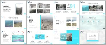 Schone en minimale presentatiemalplaatjes Blauwe elementen op een witte achtergrond Het vectorontwerp van de brochuredekking vector illustratie