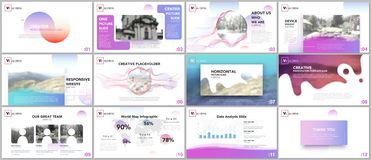 Schone en minimale presentatiemalplaatjes Kleurrijke elementen op witte achtergrond voor uw portefeuille stock illustratie