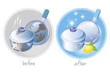 Schone en vuile schotels Vector illustratie Royalty-vrije Stock Afbeeldingen
