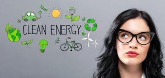 Schone Energie met jonge onderneemster Stock Foto's