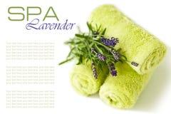 Schone handdoeken met lavendelbloemen Royalty-vrije Stock Afbeeldingen