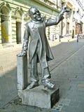 Schone Naci statue Bratislava, Slovakia. Silver statue of Schone Naci, Bratislava, Slovakia Royalty Free Stock Photography