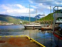 Schoner, Boote, Boote auf dem Pier norwegen Sommer 2012 Stockfotografie