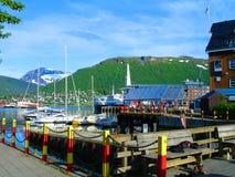 Schoner, Boote, Boote auf dem Pier norwegen Sommer 2012 Lizenzfreie Stockfotos